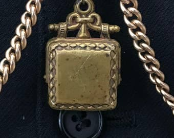 Antique Pocket Watch Chain Fob - Brass Watch Fob - Edwardian Victorian Late 1800s to early 1900s