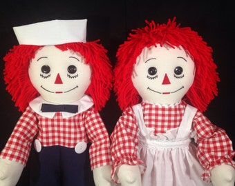 Pair of 25 inch Handmade Raggedy Ann & Raggedy Andy Dolls;Red Hair,  1/4 Inch Red and White Checked Calico, Andy with Dark Pants
