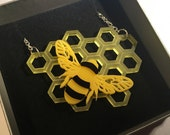 Beautiful Bee and Honeycomb acrylic necklace