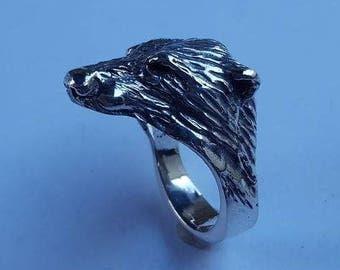 Sterling Silver Black Bear Ring W 15