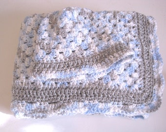 Crochet Baby Blanket, Newborn Baby Blanket, Baby Boy, Blue Sparkle, Baby Afghan, Baby Shower Gift, Baby Boy Cammo