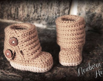 Crochet Pattern for Boys or Girls Fold Over Button Up Booties. Pattern number 043. Instant Download
