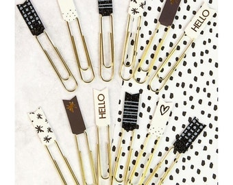 Prima Planner - Banner Paper Clips -Brown, Black & White with Glitter and Foil - Planner, Planner Clips