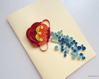 Aquarius Quilling Card, Zodiac Card, Zodiac gift, Art Greeting Card,  Blank Birthday Card