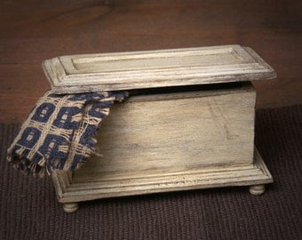 Shabby Chic Miniature Wooden Blanket Box for Your Dollhouse