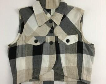 90s Vintage Neutrals Plaid Cropped Vest