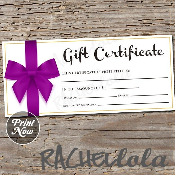 Purple bow printable gift certificate template spring direct il570xn yelopaper Images