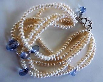 Something Blue Wedding Bracelet and Earrings - cream pearls and mystic coated faceted blue quartz on silver are sublime on a lovely bride!