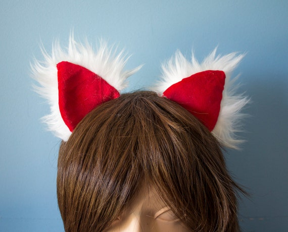 Red and White Cat Ears