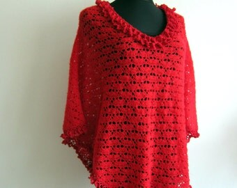 Red Crochet Poncho Shrugs Boleros Floral Flower Top Knit Lace Top Women Crochet Lace Top Loose Poncho Wrap Oversize Top