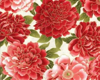 Red Peony CM8437 Metallic Fabric by Timeless Treasures CM8437 [Choose Your Cut Size]