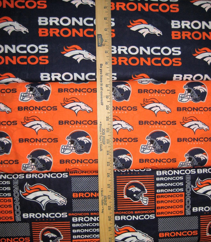 Denver Broncos NFL Logo Navy & Orange Cotton Fabric By Fabric