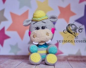 Hippo crochet pattern rattle