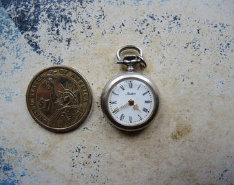 Vintage small pocket watch silver color brass case / watch clock parts / industrial jewelry altered art collage Steampunk Supply  Sm11