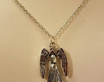 Dr. Who Weeping Angel Silver Necklace
