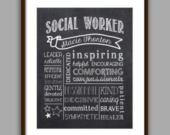Social Worker Gift, Social Worker Chalkboard Style Printable, Counselor Christmas Gift,  Counselor Thank You, Printable, Digital File 8x10