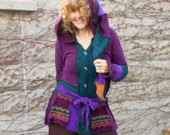 Jewel Toned Long Cardigan, Recycled Sweater Jacket, Patchwork Upcycled Sweater Triptastica Eco Fashion