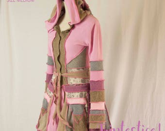 Cashmere Sweater Coat, Upcycled Sweater Coat, Upcycled Cardigan, Handmade Fairy Fashion, Cosy Sweatercoat, Triptastica Eco Couture