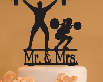 Mr. and Mrs. Body Builders Wedding Cake Topper - Body Building silhouette Wedding Cake Topper - Weight lifter silhouette - weight lifting