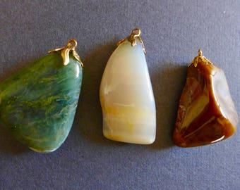 Three Beautiful Polished Stone Pendants / Circa 1960s Stone Pendants