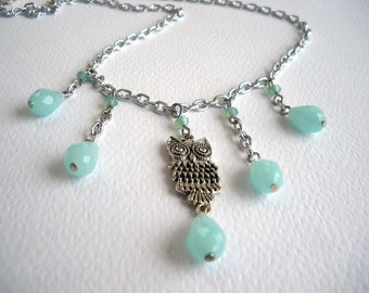 Owl Necklace with Aquamarine tone glass drops