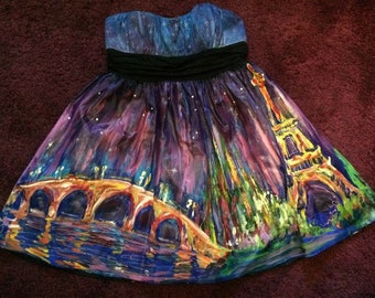 Gorgeous Hand Painted Dress Paris Formal Prom sz 10/11/12