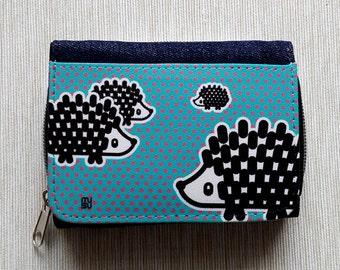 Wallet Purse Jeans Denim Card Holder Cash Coin Pocket Travel Snaps Debit Credit Photo Holder Zip Hedgehog