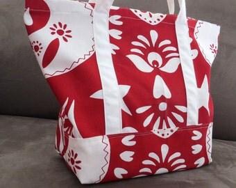 Red and white print tote bag, cotton bag, reusable grocery bag, knitting project bag, beach bag, Green Market bag