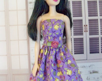 Handmade, Barbie dress, lavender floral, doll dress, lavender and yellow, floral dress, fashion doll clothes, Barbie clothes, doll clothes