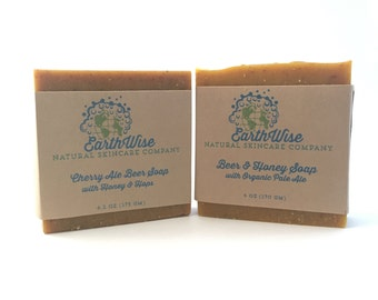 Organic Beer Soap Gift Set for the Beer Connoisseur in Your Life! Natural Handcrafted Soap! With Organic Beer, Honey, and Hops!
