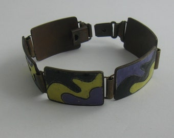 Casual elegance: 70s copper bracelet with enamel in black - lilac - yellow. Handwork. VINTAGE