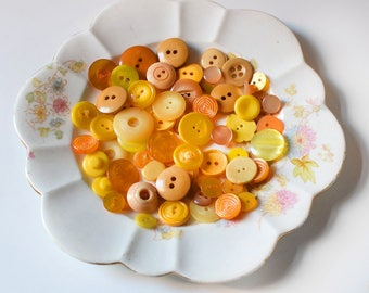 Vintage Buttons Mixed Set Yellows Oranges