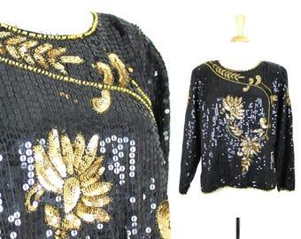 VTG Sequin Top Black Gold Long Sleeve Blouse