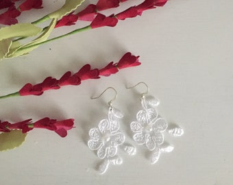 Custom Handcrafted Lace Earrings, Wedding Dress Embellishment Jewelry, Unique and Elegant Design