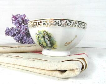 Lourdes souvenir, cafe au lait bowl, French vintage bowl, white & gold bowl, french cafe au lait, our lady of lourdes, religious gift.