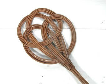 Wicker carpet beater. rug beater, rattan home decor, French vintage, French country decor, boho decor, farmhouse decor, French chic.