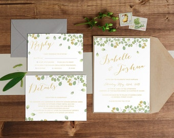 DIY Printable Watercolour Floral / Leaf Wedding Invitation | Save the Date | RSVP | Details | Calligraphy Script | Green & Gold Autumn