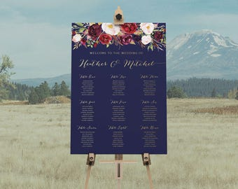 DIY Printable Burgyndy Floral Wedding Seating Plan | Watercolour Floral Calligraphy | Navy | Seating Chart | Table Chart | Rustic Vintage
