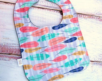 Feather Baby Bib | Baby Girl Bib | Feeding Bib | Toddler Bib | Large Baby Bib | Handmade Baby Bib | Stylish Baby Bib | Trending Baby