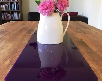 Rectangular Table Runner in Purple Gloss Finish 3mm Acrylic - 2 Sizes Available