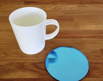 Round Blue Mirror Finish Acrylic Coasters