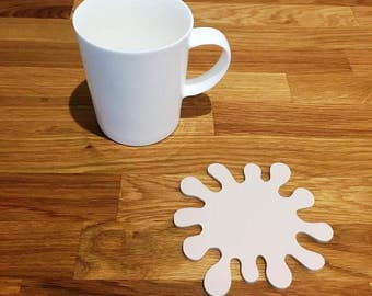 Splash Shaped Latte Beige Matt Finish Acrylic Coasters