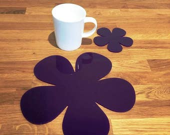 Daisy Shaped Placemats or Placemats & Coasters - in Purple Gloss Finish Acrylic 3mm