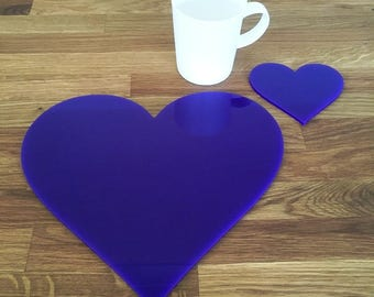 Heart Shaped Placemats or Placemats & Coasters - in Purple Gloss Finish Acrylic 3mm