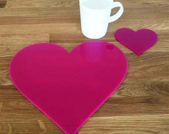 Heart Shaped Placemats or Placemats & Coasters - in Pink Gloss Finish Acrylic 3mm