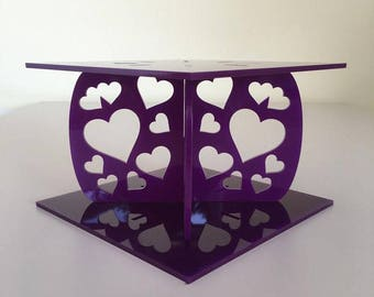 """Hearts Square Purple Gloss Acrylic Cake Pillars/Cake Separators, for Wedding / Party Cakes 10cm 4"""" High, Size 6"""" 7"""" 8"""" 9"""" 10"""" 11"""" 12"""""""