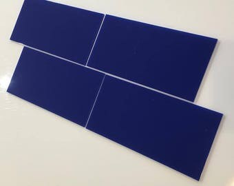 "Blue Gloss Acrylic Rectangle Crafting Mosaic & Wall Tiles, Sizes: 1cm to 25cm -  1"" to 10"""