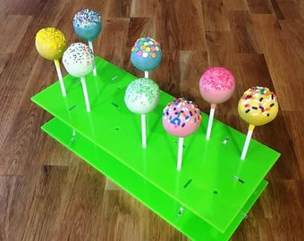"""Rectangle Lime Green Gloss Acrylic Cake Pop Stands - 31x13cm - 8.5""""x5"""" (12 cakepops) or 45x16cm 17.5""""x 6"""" - (36 cakepops)"""