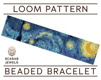 Starry Night   Loom Beading Bracelet   Cuff Bead Pattern   Miyuki Delica   PDF Instant Download