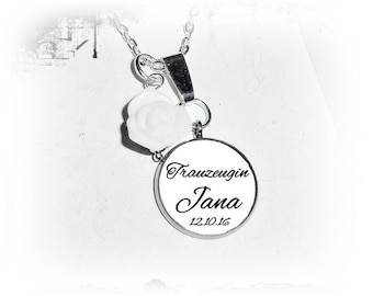 Personalized necklace - bridesmaid, Maid of honor, rose